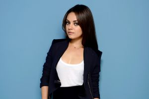 mila kunis brunette actress women blue background celebrity