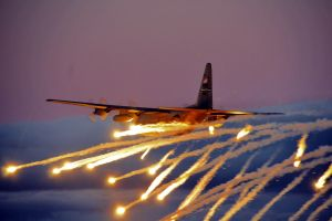 military lockheed c-130 hercules army flares