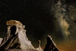 milky way night sky desert landscape rock formation nature shadow rock mountains usa new mexico stars