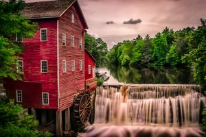 mill nature trees landscape clouds lake architecture river reflection house forest building water old building long exposure