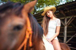millinery horse straw hat sitting women with horse white dress model brunette long hair women with hats women