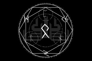 minimalism black background runes magic circle