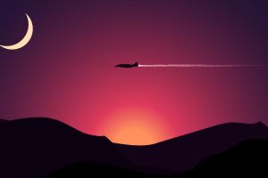 minimalism contrails moon artwork 350r (star citizen) landscape aircraft digital art mountains