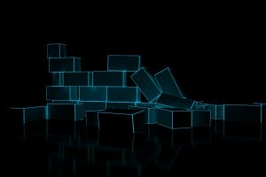minimalism digital art reflection black background bricks glowing cgi