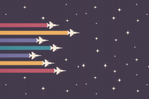 minimalism space aircraft colorful