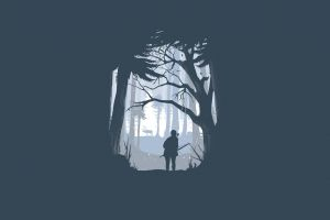minimalism the last of us blue hunting forest winter
