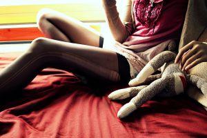 miniskirt women women indoors stockings ripped clothing sitting