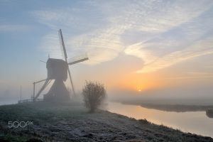 mist canal photography morning windmill