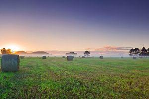 mist dual monitors landscape multiple display haystacks