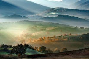 mist landscape sun rays trees mountains field fall nature