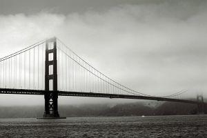 mist monochrome sea mist golden gate bridge bridge