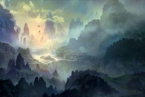 mist mountains trees deviantart river
