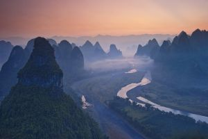 mist river mountains nature forest china landscape