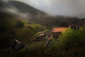 mist shrubs mountains landscape house grass nature hills