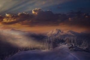 mist sunlight snowy peak nature italy landscape cabin winter sunset alps mountains clouds snow forest sky