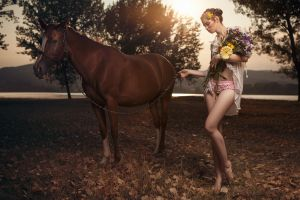 model animals women horse