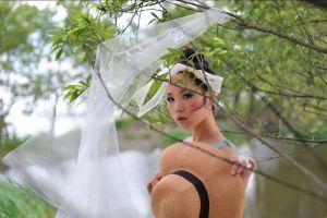 model asian women brunette women outdoors