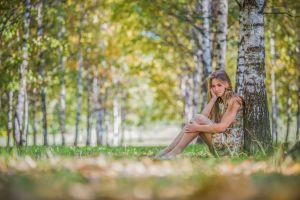 model blonde women grass trees nature