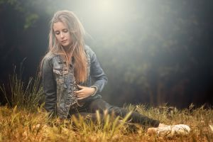 model blonde women grass