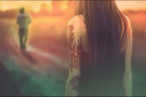 model brunette depth of field women long hair tattoo