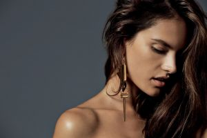 model brunette face alessandra ambrosio simple background women
