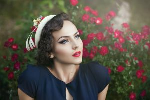 model brunette women women outdoors face blue eyes funny hats