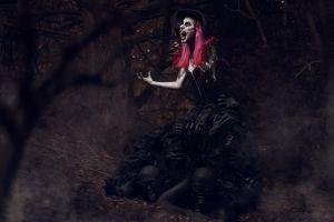 model digital art screaming women dark redhead