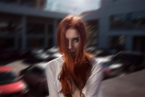 model face women portrait motion blur redhead