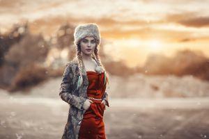 model hat blue eyes women outdoors portrait alessandro di cicco women red dress braids hands in pockets red lipstick blonde fur cap