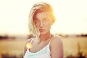 model hazel eyes portrait face white tops blonde women