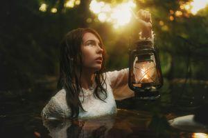 model lamp women outdoors