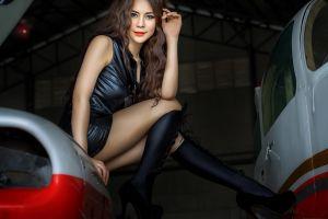 model leather dress platform shoes looking at viewer red lipstick women asian chakrit chanpen long hair brunette knee-highs