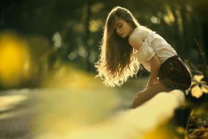 model long hair closed eyes bare shoulders brunette women outdoors nature women trees sunlight blouses