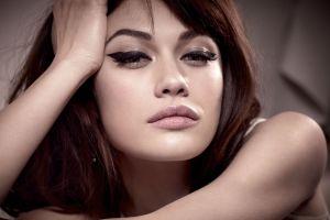 model olga kurylenko long hair looking at viewer makeup face bare shoulders portrait brunette women