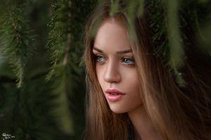 model open mouth blue eyes women face brunette