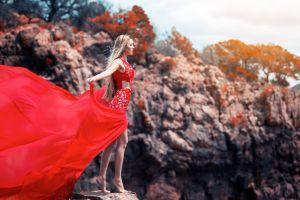 model open mouth long hair barefoot nature women outdoors women blonde red dress rock trees windy