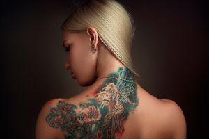 model portrait bare shoulders rear view blonde tattoo simple background back face long hair women