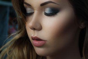 model portrait closed eyes women makeup face
