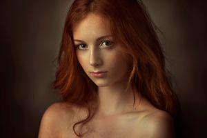 model portrait redhead women face