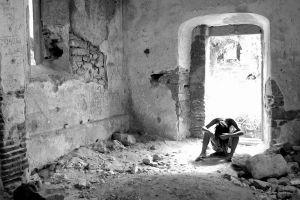 model ruin women sitting monochrome building
