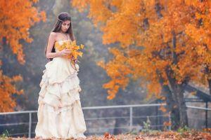 model white dress nature women trees women outdoors brunette leaves headband fall long hair