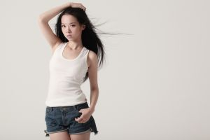 model women asian arms up