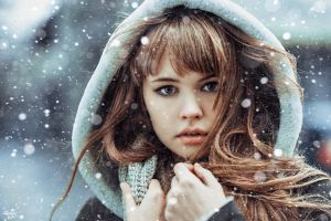 model women brunette anastasia scheglova winter snow flakes looking at viewer hoods