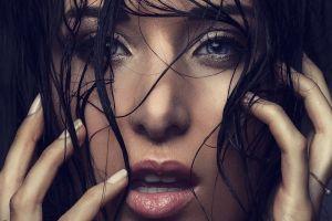 model women face brunette blue eyes portrait