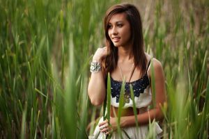 model women outdoors grass nature women brunette