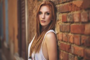 model women redhead face wall