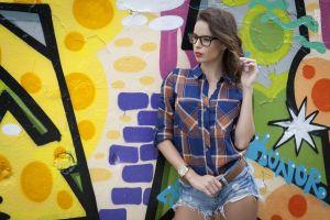 model women with glasses shirt women outdoors wall jean shorts veszelovszky zsolt portrait brunette women
