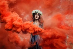 model wreaths colorful women smoke