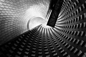modern clouds architecture artwork worm's eye view wall monochrome
