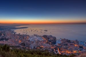 monaco sea horizon sunset